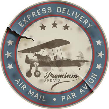 TenStickers. Vintage Airplane Air Mail Decal. A nice airplane vintage decal from our collection of retro wall stickers illustrating a stamp from an air mail delivery agency Ideal for those that love vintage designs! Decorate your home and get rid of those empty spaces at home.