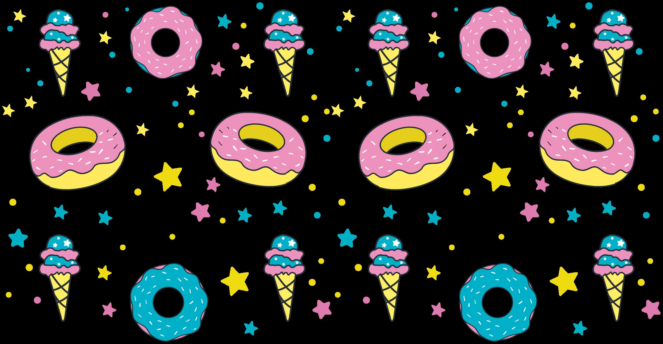 TenStickers. Autocollant Alimentation Confettis beignets et glaces. Autocollant de nourriture de confettis de beignet et de crème glacée. ces stickers murauxpeut être décorée sur n'importe quel espace de votre choix selon l'occasion et le but.
