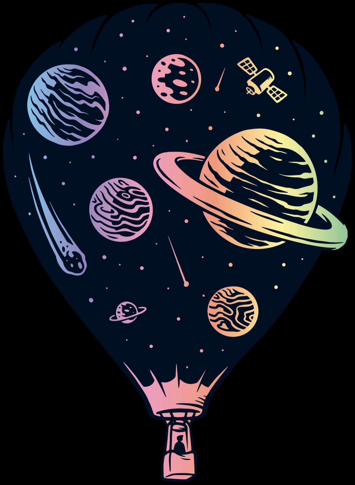 TenVinilo. Vinilo para niños globo aerostático con planetas. Vinilo bebé con globo aerostático con planetas y asteroides coloridos para decorar de forma original el cuarto de tu hijo ¡Compra online!