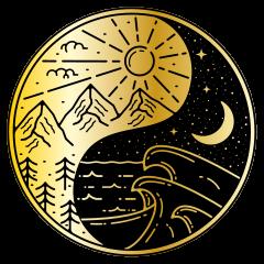 TenStickers. Wandtattoo Weltall Mond ying yang. Dekorative illustration Raum Aufkleberdes mondes mit einem yang Design. Geeignet zum dekorieren einer flachen, glatten Oberfläche ihrer wahl und sehr einfach anzuwenden.