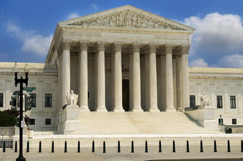 TENSTICKERS. 私たち最高裁判所の壁画. 写真の壁画-米国の記念碑的な最高裁判所のショット。自宅やオフィスを飾るのに最適です。