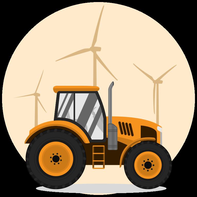 TenVinilo. Vinilo para niños tractor con molinos de viento. Vinilo para niños de fondo de molinos de viento para decorar la habitación de un niño. Elige las medidas ¡Descuentos disponibles!