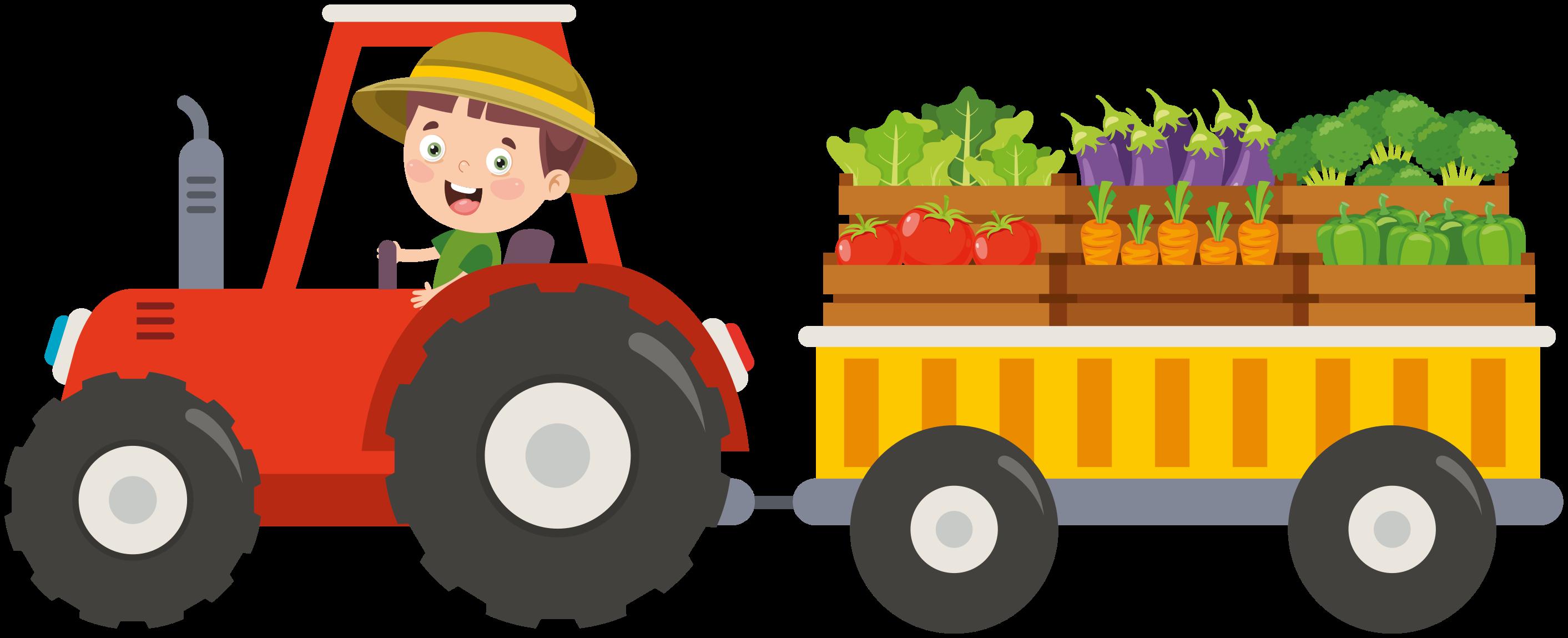 TenStickers. Mali kmet, ki vozi nalepko za traktorske igrače. Okrasna zasnova traktorjev za otroške igrače, ki ponazarja dečka, ki vozi traktor in prenaša različne kmetijske pridelke. Enostaven za nanos in samolepilnost.