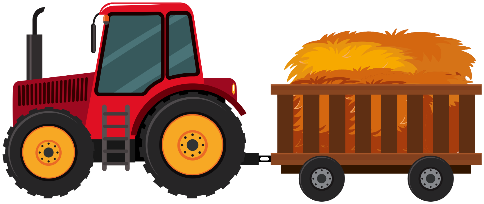 TenStickers. Traktor s senom v nalepki vozička. Ilustrativna nalepka za igrače na traktorju za okrasitev sobe majhnega otroka, posebej za dečka. Zasnova je traktor, ki vleče voz s senom.
