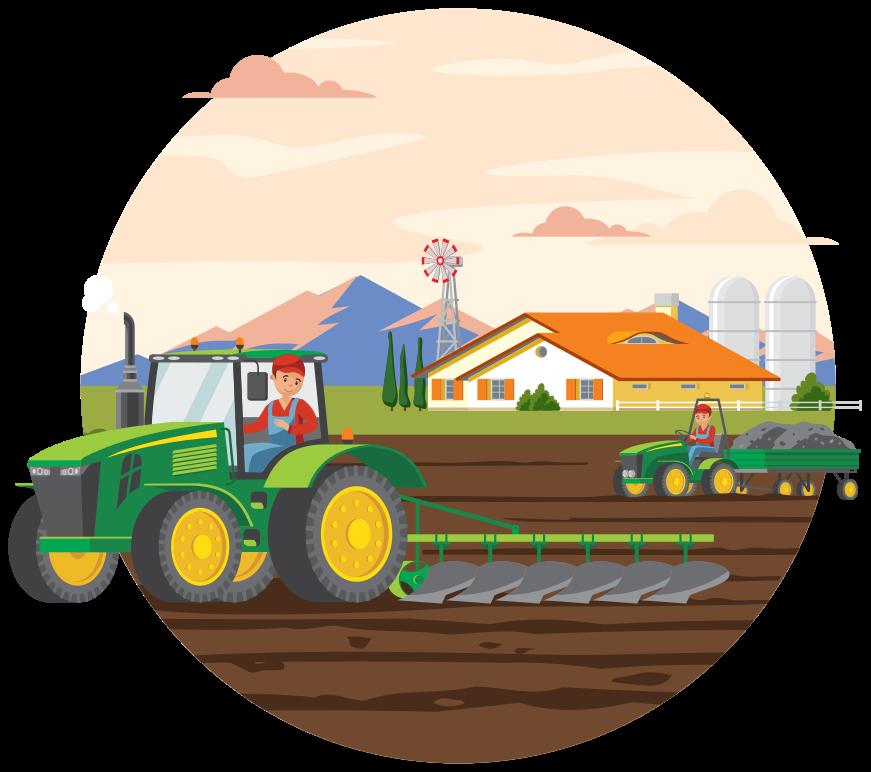 TenStickers. Stickers Kleurrijke landbouw en tractor. Kleurrijke landbouw cirkel speelgoed zelfklevende sticker. Prachtig landschap ontwerp met kinderen die zware landbouw tractoren besturen. Verkrijgbaar in elke gewenste maat.