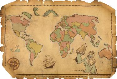 TenVinilo. Vinilo decorativo antiguo plano mundo. Adhesivo con la recreación de un mapa antiguo de cuero plagado de monstruos.