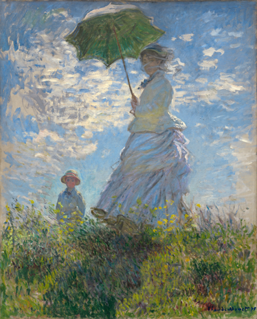 "TenStickers. Claude Monet Umbrella Art Sticker. A beautiful wall decal illustrating the famous painting ""Woman with Umbrella"" by Claude Monet. Are you a fan of this French painter?"