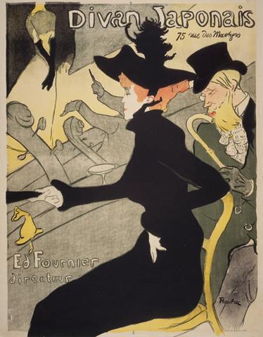 TenStickers. Autocolante de arte Divã Japonês Lautrec. Da nossa coleção de adesivos vintage, um design de Lautrec criado para anunciar um 'café-chantant' chamado Divã japonês.