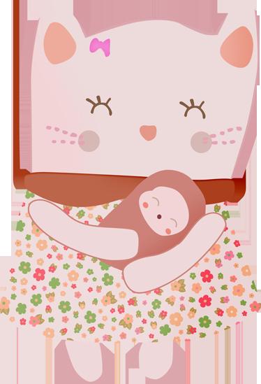 TenStickers. 핑크 어머니 고양이 벽 스티커. 벽 스티커-그녀의 신생아 고양이 들고 고양이의 그림. 장난과 마음 온난화 디자인. 다양한 크기로 제공됩니다.