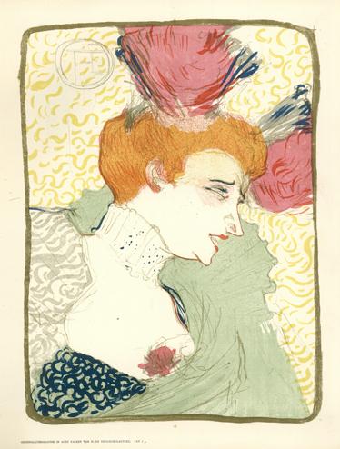 TenStickers. Sticker litographie Lautrec. Een muursticker van een reproductie van de bekende affiche van de buste van Mevrouw Marcelle Lender gemaakt door Henri De Toulouse-Lautrec.