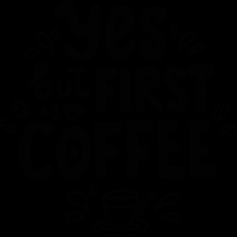 """TenStickers. Getränke Aufkleber Ok erster kaffee. Wandtattoo mit dem text """"ja, aber erster kaffee"""" ist eine großartige möglichkeit, Ihre küche oder Ihr café zu dekorieren. Einfach anzuwenden, aus hochwertigen Materialien."""