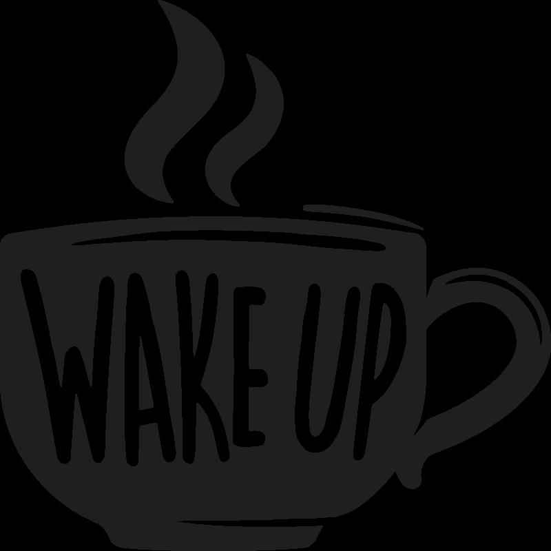 TenStickers. Aufkleber Text Kaffee zitat aufwachen. Text Wandtattoo aufwachen, tolle dekoration für Ihre küche. Aus hochwertigem vinyl, leicht zu reinigen und aufzutragen. 100% zufriedenheit.