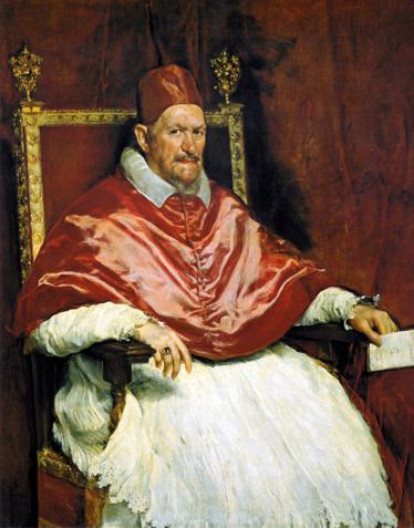 """TenStickers. Sticker schilderij Onschuldige paus. Een muursticker met de reproductie van het bekende portret """"The innocent Pape X"""" door Diego Vélasques in 1650."""