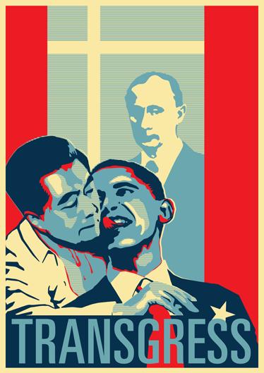 TenStickers. 정치 범죄 스티커. 세계 주요 대통령 세 명이 범법 행위를 저지르는 논쟁의 여지가있는 포스터 스티커.
