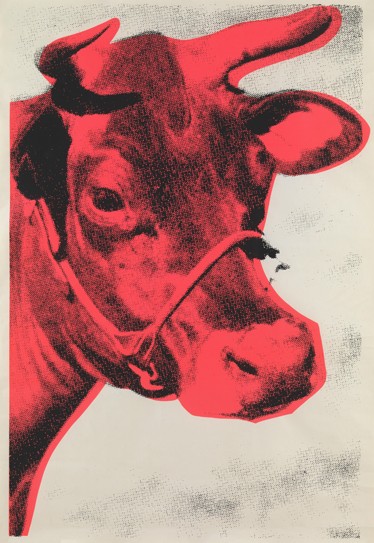 TenStickers. Red Cow Silkscreen Wall Mural. Wall Mural - Pop art poster still of a cow. Fun and distinctive feature to decorate a room. Available in various sizes.
