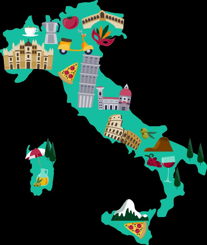 TENSTICKERS. 抽象的なイタリアの国の地図都市ステッカー. イタリア特有の象徴的なイラストが描かれた装飾的なイタリアの壁地図デカール。地図上には、有名な建物、風景、食べ物などの特徴があります。