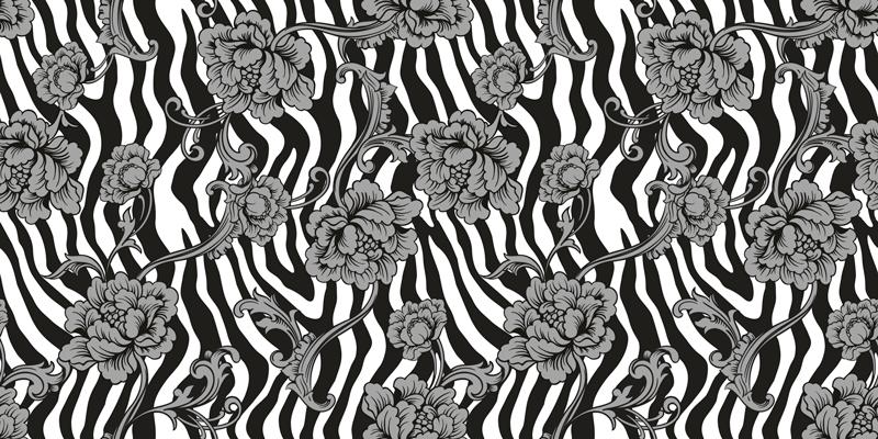 TENSTICKERS. ゼブラプリントと家具用の装飾用花のデカール. ゼブラプリント観賞用花家具デカール。デザインは最高品質のビニールで印刷されているため、表面に簡単に貼り付けることができます。