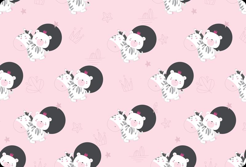 TenVinilo. Vinilo para laptop bebé cebra y oso. Maravilloso vinilo para laptop de color rosa con bebe cebra y oso en estilo nórdico. Elige tu modelo de portátil ¡Envío exprés!