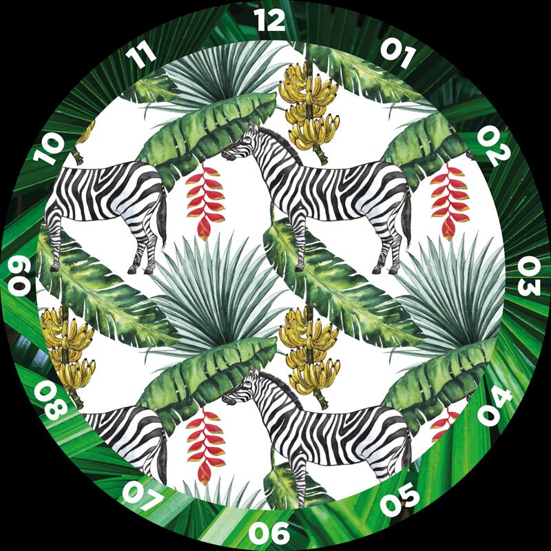 TENSTICKERS. 自然パターン時計デカール. 居間、寝室、その他のスペースのための自然のパターンの壁時計のステッカー。時計の表面は、シマウマのヤシの葉のパターンで設計されています。
