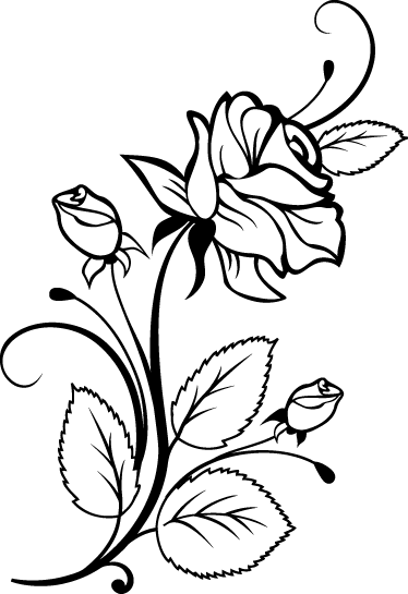 TenStickers. Rose Profile Decal. Decals - Floral rose illustration to brighten up dull walls. Available in various sizes and colours.