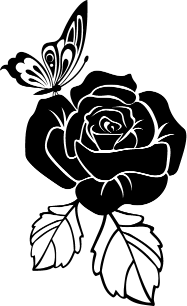TenStickers. Butterfly Rose Decal. Elegant floral wall sticker to decorate your home or business. Lovely monochrome flower sticker for bringing some colour and nature to your walls, available in various colours and sizes. This beautiful wall sticker shows a rose with a butterfly sitting on it.