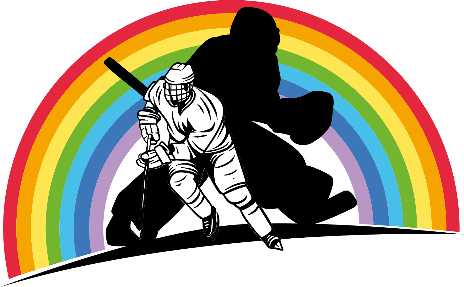 TENSTICKERS. レインボーホッケーウォールステッカー. 虹の背景に2人のホッケー選手を描いた美しいイラストホッケー選手デカール。それはオリジナルで、耐久性があり、粘着性があり、簡単に塗ることができます。