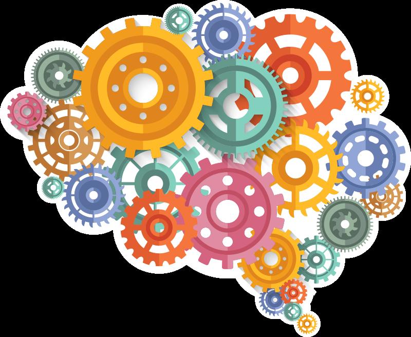 TENSTICKERS. 脳色の歯車科学ウォールステッカー. あなたの家でクールで独創的な脳の思考のウォールステッカーを見て、あなたの脳がより速く働いているように感じることができるよりも良いことは何ですか!
