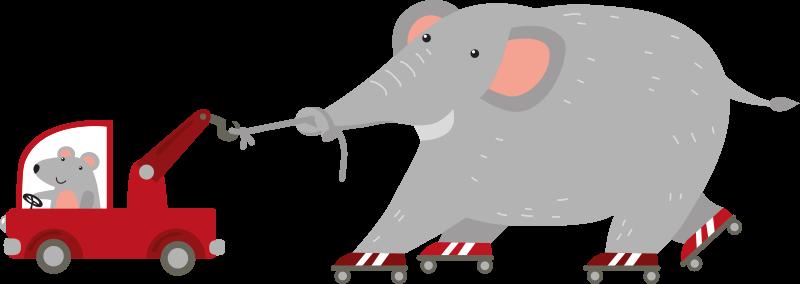 TENSTICKERS. マウスの壁の壁画デカールと象. 小さなマウスで運転するトラックでスケートを運転する大きな象のデザインのウォールステッカー。いくつかのサイズで利用できます。