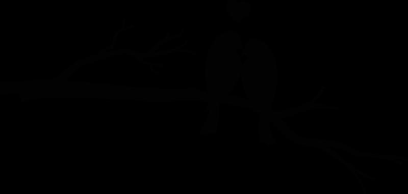 TENSTICKERS. 木の壁のステッカーにキスする鳥と秋の木. 鳥にキスをするウォールステッカー。このパターンは、2羽の鳥が枝にキスをしているところを示しています。あなたは色とサイズを選ぶことができます。高品質のビニール製。