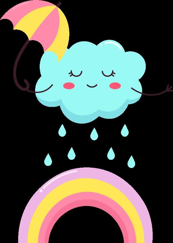 TENSTICKERS. 虹の漫画のデカールに雨が降っている笑顔の雲. お子様の部屋の雰囲気を、オリジナルの子供向けの虹と雲のデカールのイラストと雨滴で、楽しくて面白い雰囲気で満たしてください。