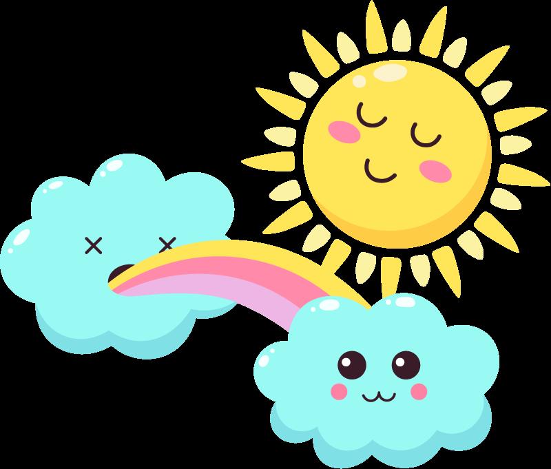 TENSTICKERS. 笑顔の太陽の漫画の壁のステッカーと光沢のある虹. 子供の空間を飾るための幸せな漫画の虹、太陽、土塊のイラストデカールデザイン。必要なカスタマイズされたサイズで利用できます。