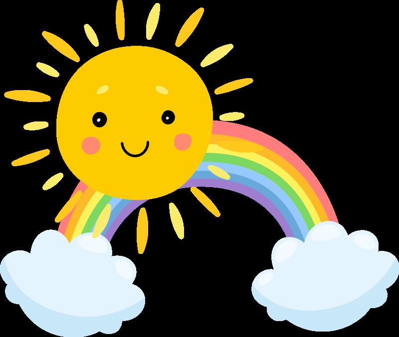 TENSTICKERS. 空の漫画の太陽と虹の漫画のウォールステッカー. 幸せな虹と雲のデザインで描かれた宇宙ファンタジーウォールステッカーを探している華麗で興味深い子供たち。あなたが望むどんなサイズでも利用できます。