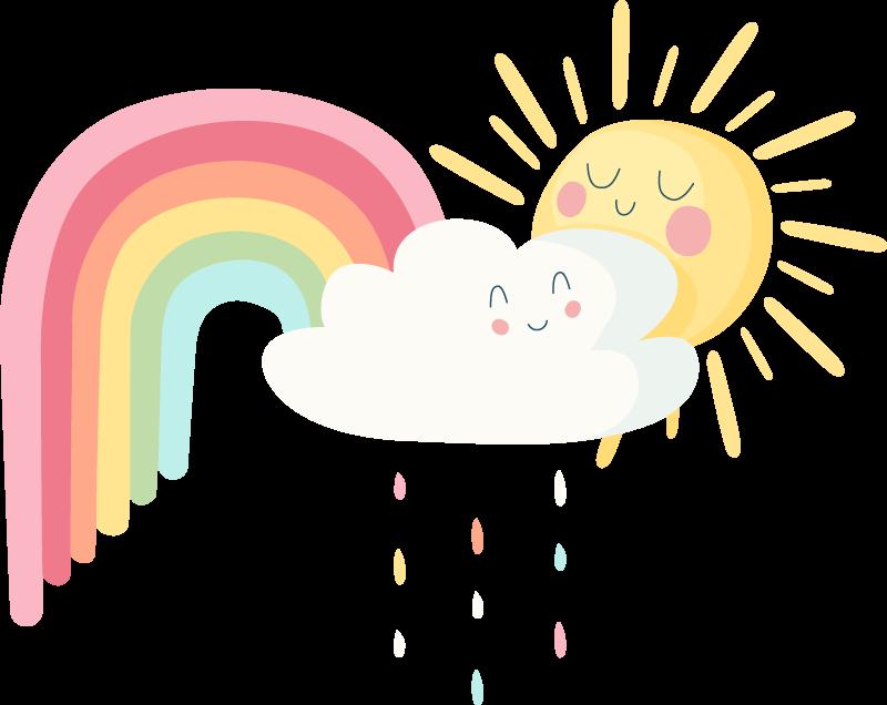 TENSTICKERS. 虹の漫画の壁のステッカーと幸せな太陽と雲. あなたの子供の寝室をカスタマイズするために使用できる幸せな太陽と虹の素晴らしいイラストウォールステッカーです。オリジナルで耐久性があります。