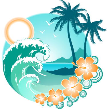 TenStickers. Exotic Palm Beach & Waves Wall Sticker. Colourful and warm illustration of an exotic beach, from our collection of beach wall stickers. Add a touch of a tropical summer to your those blank walls at home and take yourself back to those exotic beaches of your holiday.