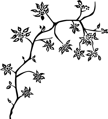 TenStickers. Flower Stem Tree Wall Sticker. Floral Wall Stickers - A floral design of a slim, blossoming tree. A distinctive feature that will bring some beauty of spring to a room of your choice.