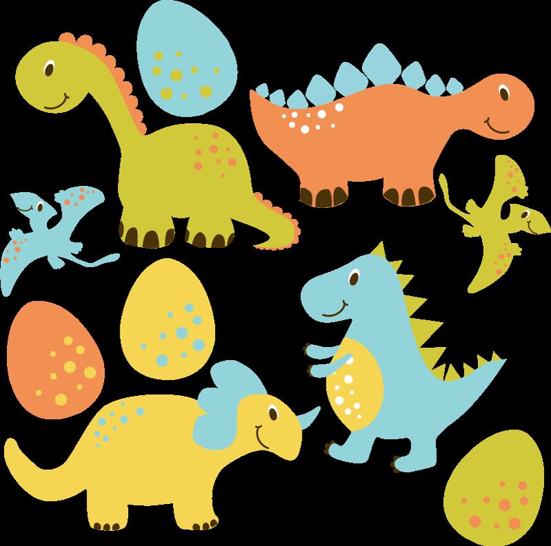 TENSTICKERS. かわいいオレンジ色の漫画恐竜ドラゴンウォールステッカー. 飛んでいるコウモリと色の卵のデザインのさまざまな恐竜のステッカーのイラスト。それは耐久性があり、適用が簡単で、自己接着性です。