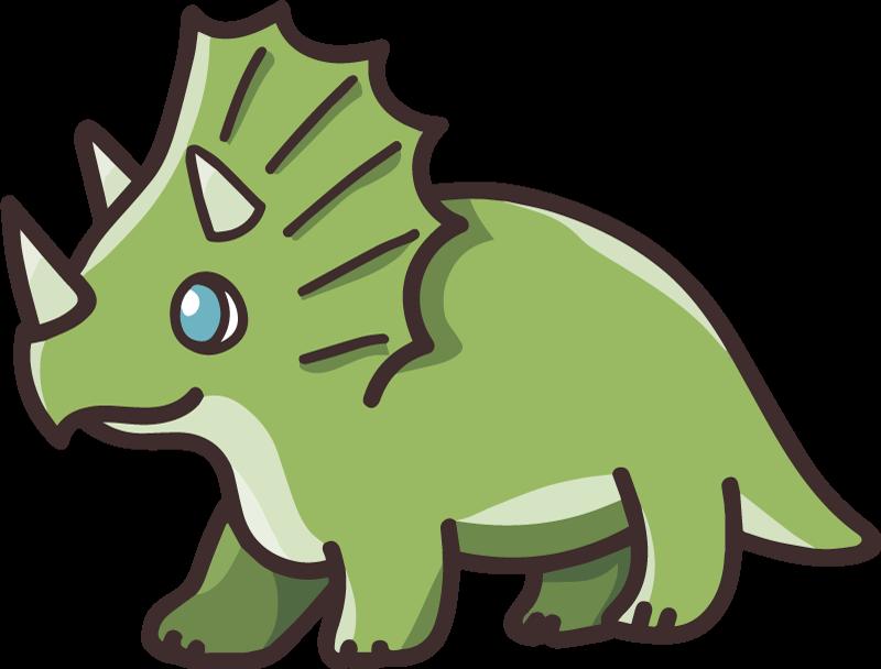 TENSTICKERS. かわいい漫画恐竜トリケラトプスウォールステッカー. 子供の寝室や他のスペースのためのかわいい漫画の恐竜の装飾的なステッカー。恐竜はトリケラトプス恐竜を描いています。