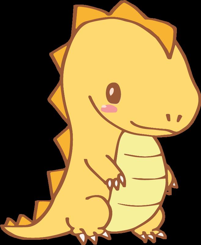 TENSTICKERS. かわいいオレンジ色の恐竜の笑顔のドラゴンウォールステッカー. あなたの小さな子供の寝室を飾るためのかわいい笑顔の恐竜のウォールステッカー。あなたの子供はこのかわいい生き物が宇宙にいることを喜んでいるでしょう。