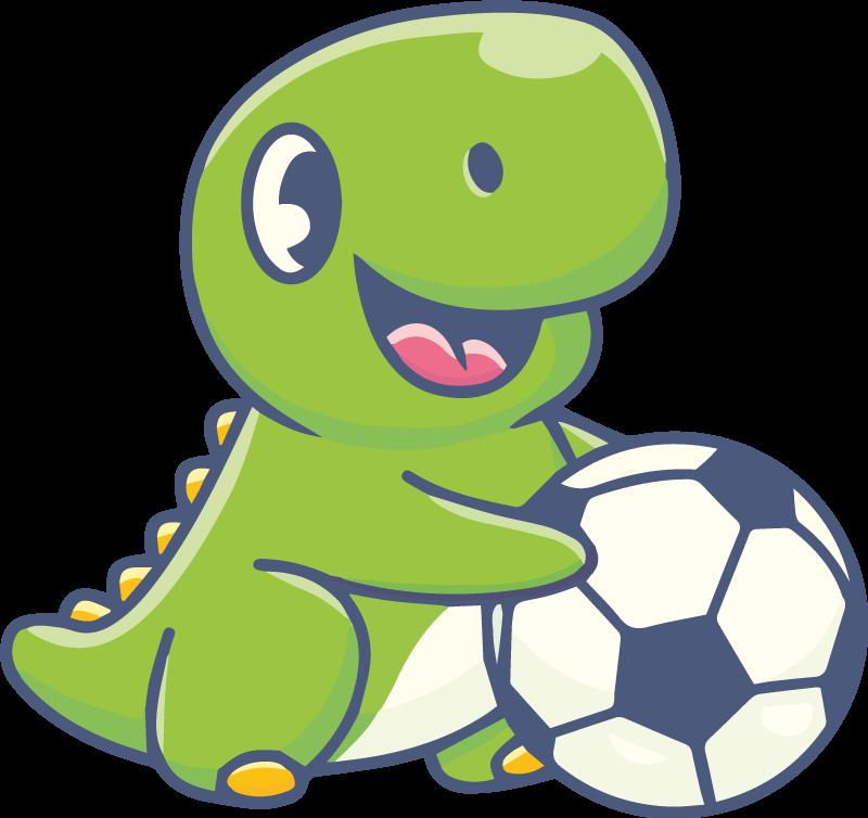 TENSTICKERS. フットボールのドラゴンの壁のステッカーを保持しているかわいい恐竜. フットボールのウォールステッカーを保持しているかわいい恐竜。製品はさまざまなサイズで入手可能で、高品質のビニールで作られています。粘着性があり耐久性があります。