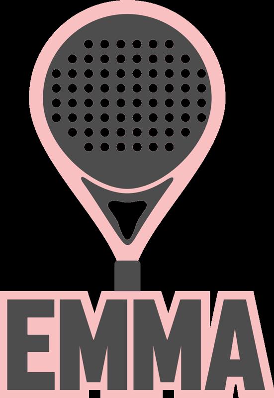 TENSTICKERS. 名前の壁の装飾が施されたピンクのパデルラケット. ラケットスポーツ選手とファンのための名前の壁のステッカーが付いているピンクのパデルラケット。このデザインはあなたの名前でカスタマイズ可能です。取り付けと取り外しは簡単です。