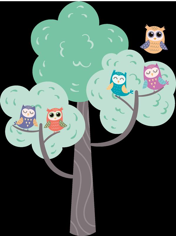 TENSTICKERS. フクロウとカラフルな木イラスト壁アートデカール. 木の枝にさまざまなフクロウの鳥の面白くてカラフルなイラストのウォールステッカー。デザインは美しく、子供の寝室スペースに最適です。