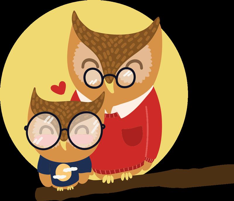 TENSTICKERS. 息子と父のフクロウイラストウォールアート. 父と息子を描いたフクロウ鳥漫画イラストデカール。このデザインは、子供たちの部屋を飾るのに理想的であり、他のスペースにも理想的です。