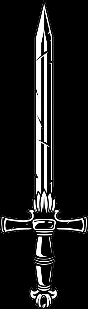 TENSTICKERS. ツイストハンドルソードオブジェクトウォールステッカー. ツイストハンドル付きのイラスト入りの剣オブジェクトビニールデカール。剣愛好家、中世の戦闘や武器を楽しむ人々のためのデザイン。