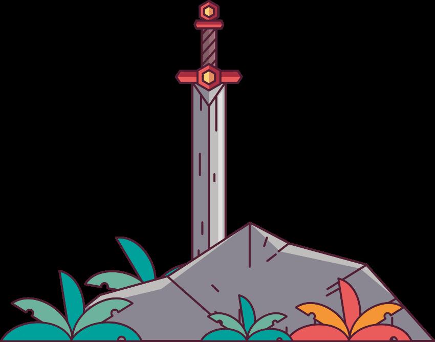 TENSTICKERS. 石のオブジェクトの壁のステッカーの剣. 赤ちゃんの保育園や子供部屋に飾ることができる石のオブジェクトの壁のステッカーのカラフルでフレンドリーな外観のアニメーションの剣。オリジナル、貼りやすい。
