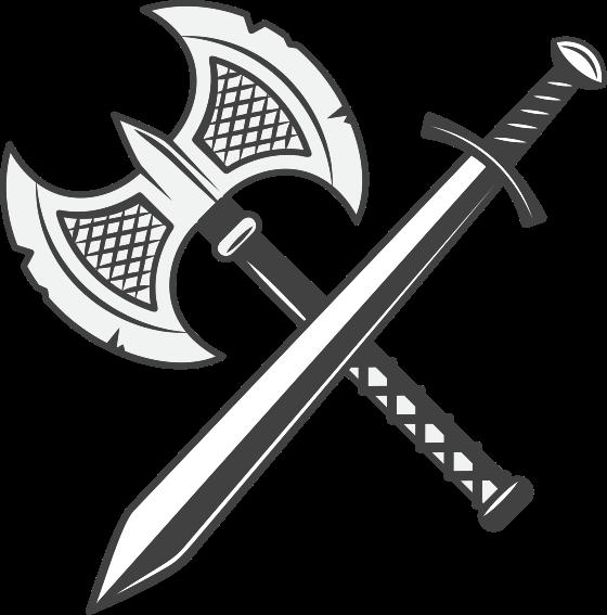 TENSTICKERS. 剣と斧のオブジェクトウォールステッカー. 剣と斧が交差する装飾オブジェクトのビニールデカール。耐久性があり、必要なサイズで簡単に適用できます。