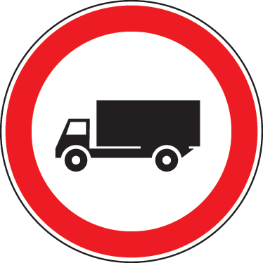 TenStickers. Lorry Warning Sign Sticker. Sign decal of a lorry in a circle with red borders that warns us that we are in an area where lorries are present.