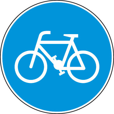 TenStickers. Bicycle Notice Road Sign Sticker. The Highway Code - Blue circle sign to indicate route to be used by pedal cycles only. Available in various sizes.