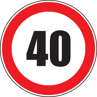 TenStickers. Maximum Speed 40 Road Sign Sticker. Room Stickers - Highway Code - 40 mph speed limit sign. Select a size that suits you.