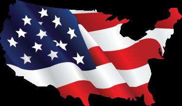 USA Country Outline Flag Wall Sticker TenStickers - Usa outline