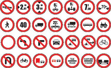 TenStickers. Muursticker Verkeersborden. Stickervel met in totaal 28 verkeersborden. Ideaal voor het decoreren van bedrijven en garages. Express verzending 24/48u.